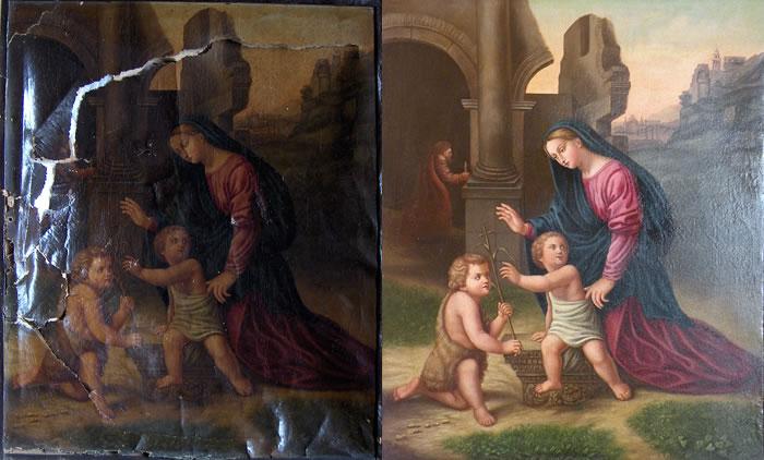 peinture sur toile à restaurer