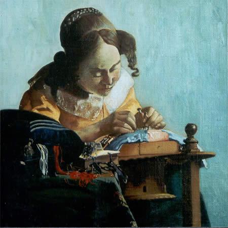 copie et reproduction de tableaux anciens la dentelli re d 39 apr s vermeer. Black Bedroom Furniture Sets. Home Design Ideas